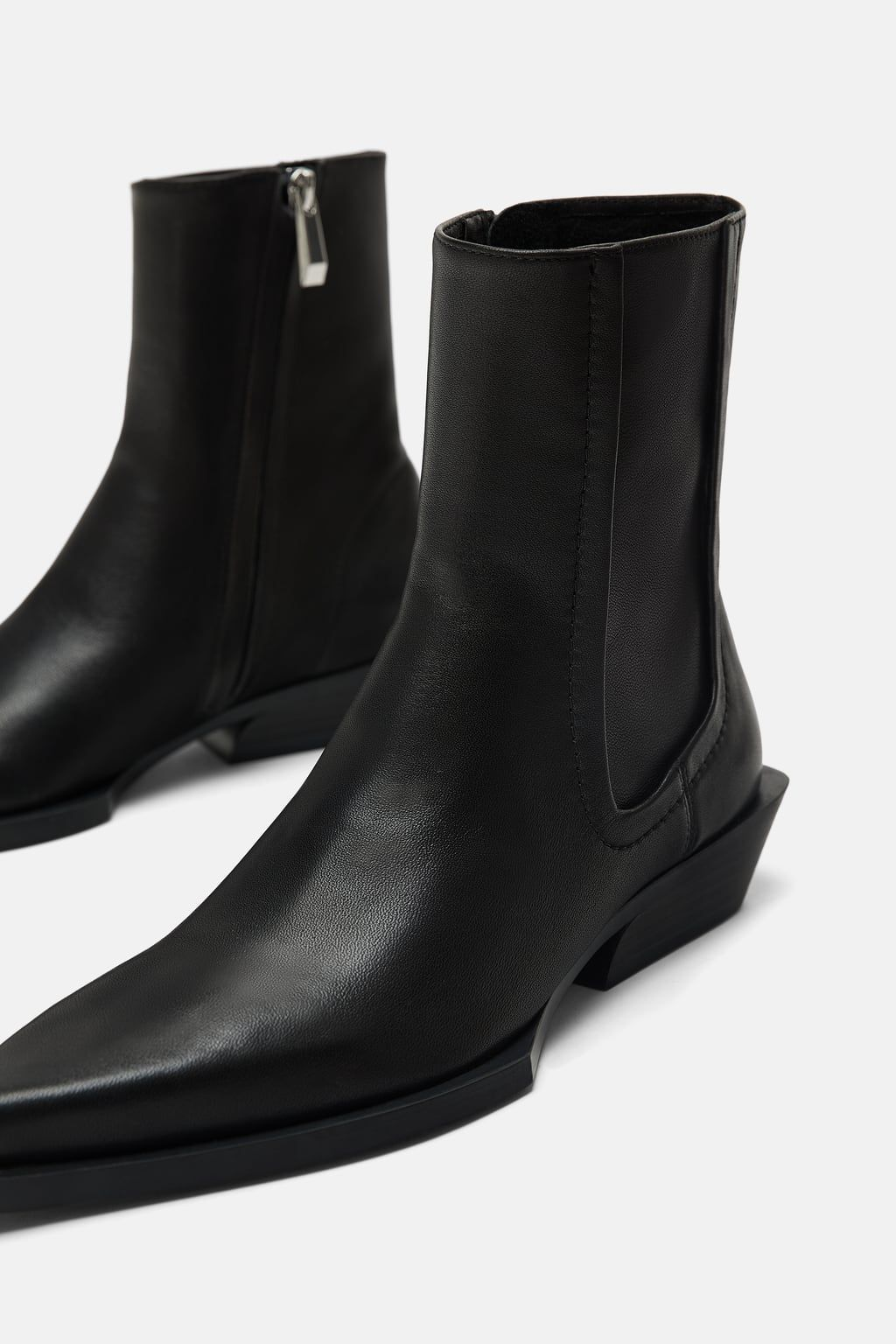 LEATHER HEELED COWBOY ANKLE BOOTS
