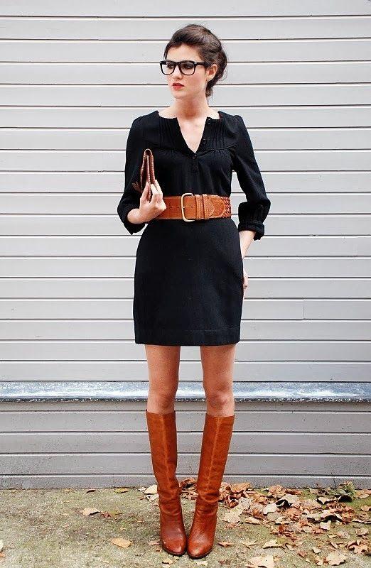 Robe noir collant noir ou chair