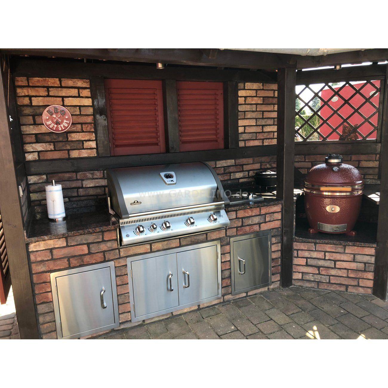 Rustikale selbstgebaute Outdoorküche mit Napoleon Einbaugrill ...