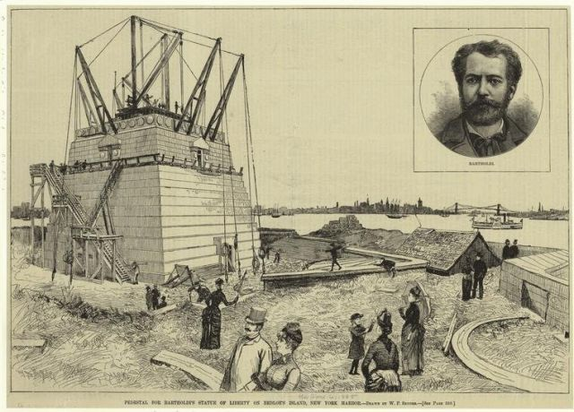 assembling the statue of liberty | 1885 face of statue of liberty uncrated on liberty island bedloe s ...