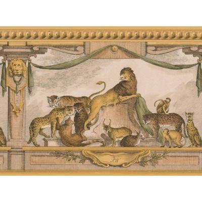 Retro Art Ancient Rome Lion Lynx Monkey Yellow Animal