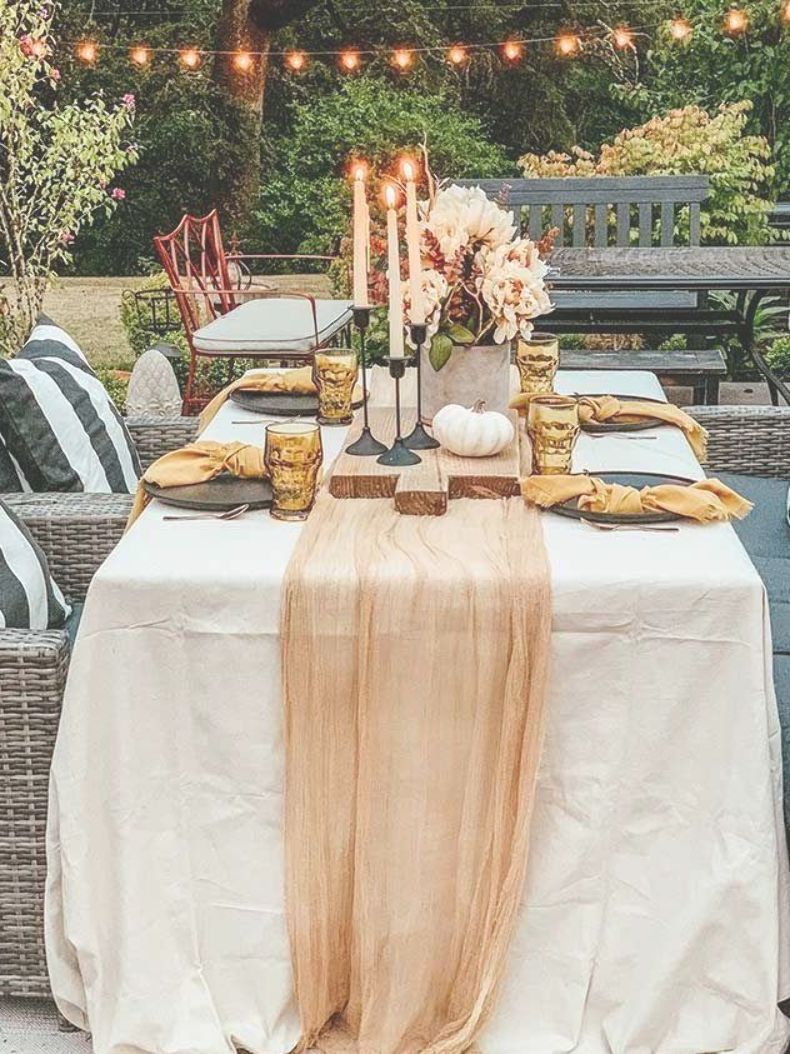 Easy Fall Outdoor Table With Drop Cloth Drop Cloth Tablecloth Diy Tablecloth Fall Outdoor Table Farmhou Diy Outdoor Table Drop Cloth Tablecloth Diy Tablecloth