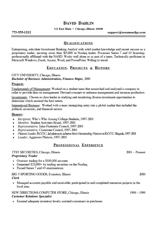 sample resume investment banking
