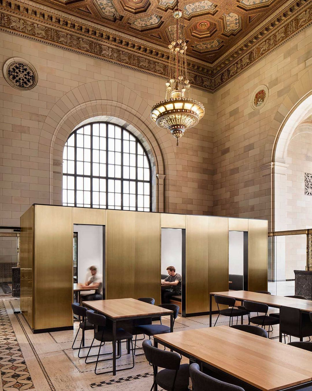 #StoriesOnDesignByYellowtrace >> Metallic Interiors.This spectacular former bank in Montreal has been transformed by Henri Cleinge into an office for a tech start-up and a cafe for freelancers. Photo by Adrien Williams. #Yellowtrace #YellowtraceInteriors #YellowtraceCommercial http://www.yellowtrace.com.au/metallic-interiors/