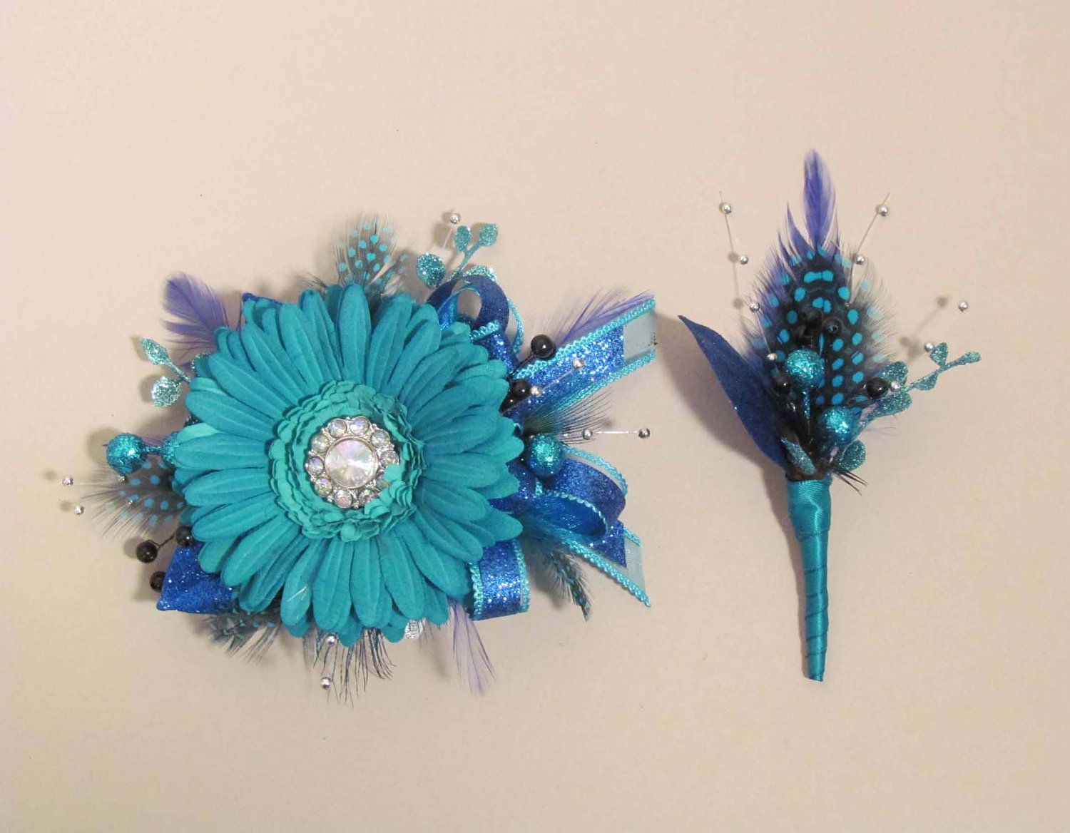 Corsages And Boutonnieres   ... Be for 2 Turquoise Gerbera Daisy Wrist Corsage & Boutonniere sets