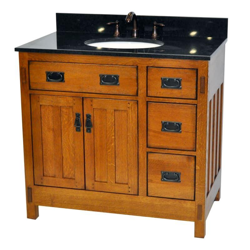"Sagehill Designs AC3621DN Rustic Oak American Craftsman 36"" Oak Vanity Cabinet Only"