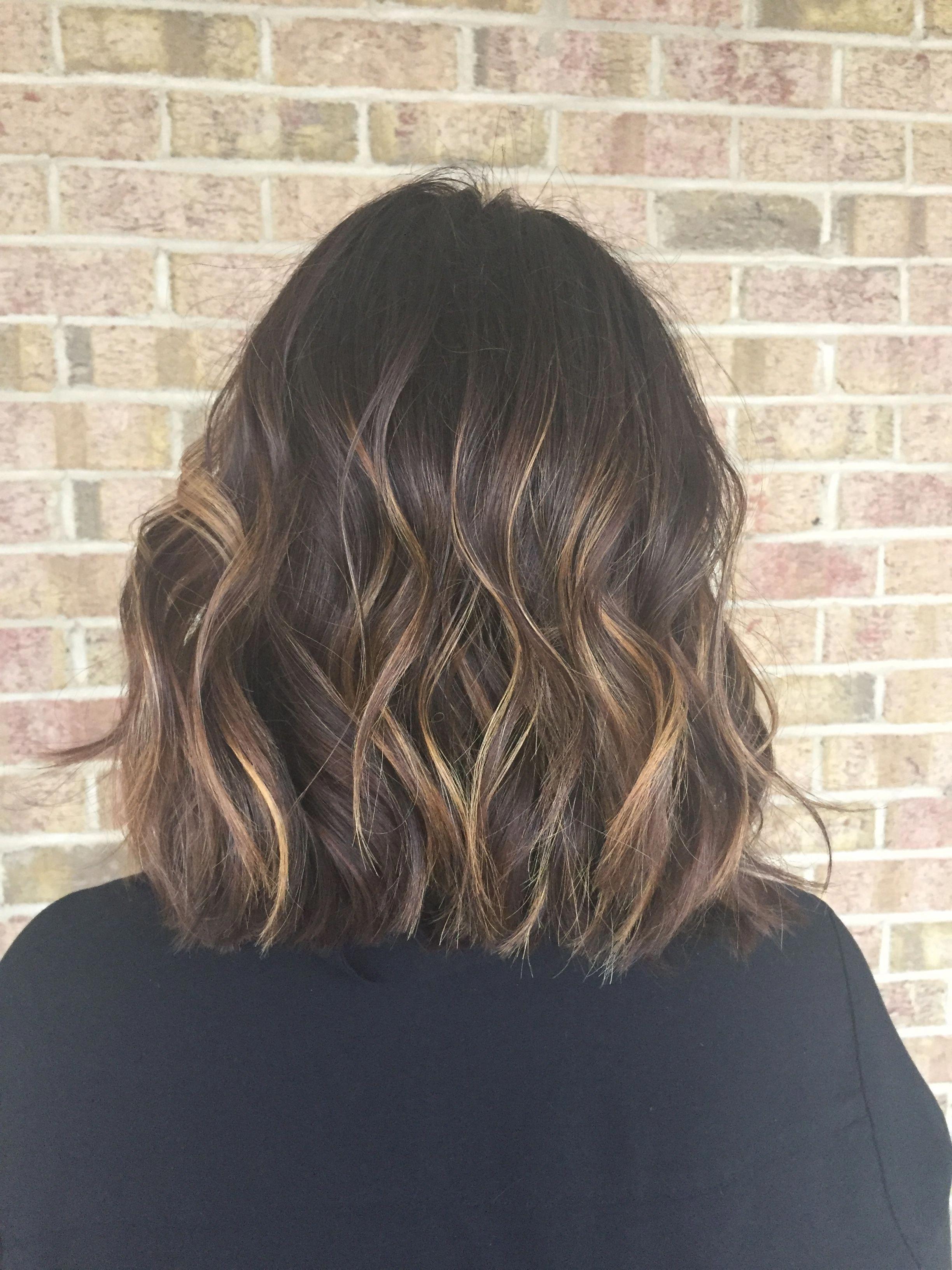 Balayage for dark brown hair. Hair by Chelsea Pelfrey. Short