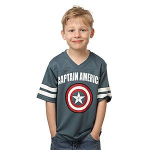 huge selection of d2492 b92a4 ThinkGeek :: Captain America Kids' Football Jersey | Geeky ...