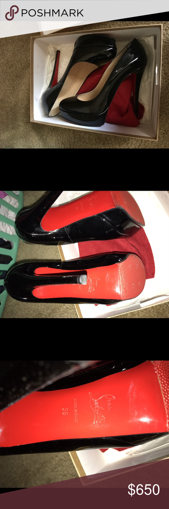 Christian Louboutin Bianca 140 Patent Size 39 (9 us) my fav shoes only wore them twice :( idk why all of a sudden they don't fit and being a mom of two I don't go anywhere lol Christian Louboutin Shoes Heels