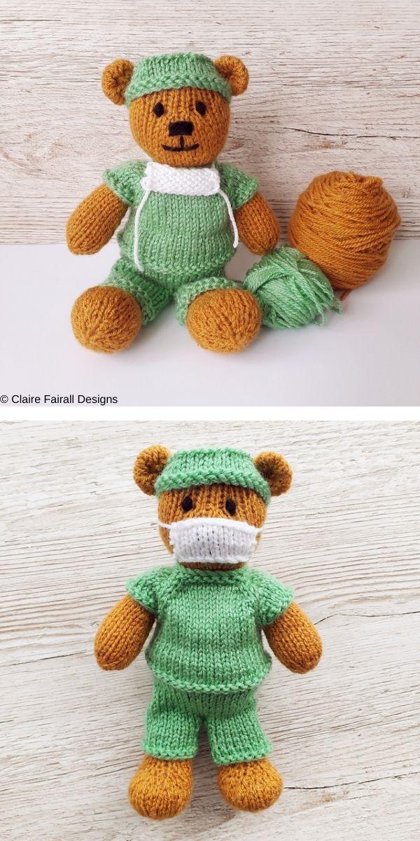 Little Doctor Bear Free Knitting Pattern in 2020 ...