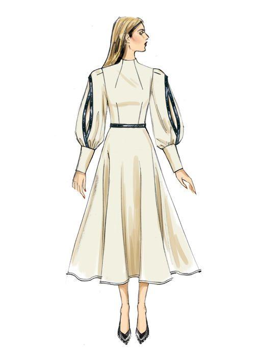 V9327 Bishop Sleeve Partially Lined Dresses With Close Fitting Bust Voguepatterns S Dress Design Sketches Fashion Design Clothes Fashion Illustration Dresses