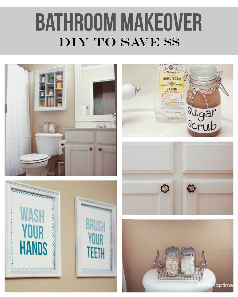 bathroom makeover on the cheap #diy #homedecor | pins i love