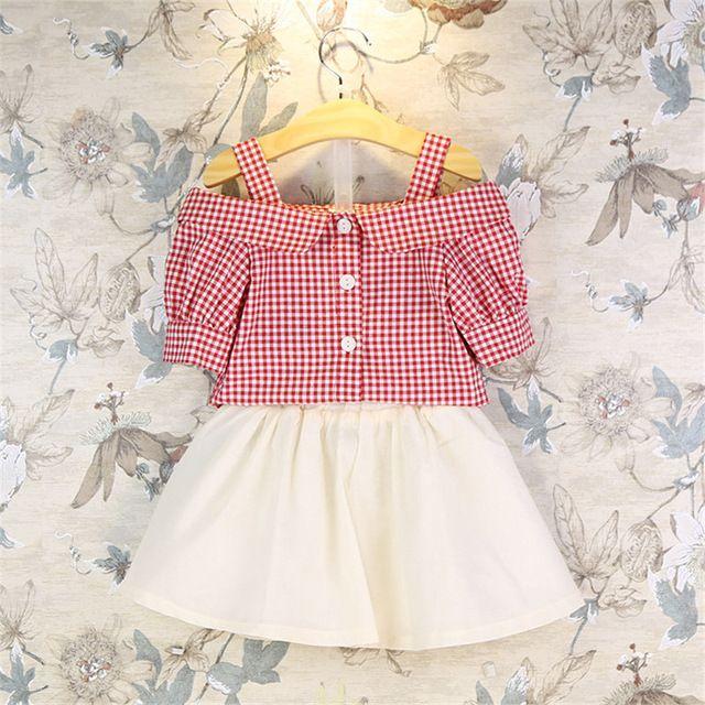 81964af9a5 2016 Moda Verão Crianças Conjunto de Roupas Meninas Xadrez único breasted  Tops Roupas Saia Peças Ternos Do Bebê 2 Twinset Roupa dos miúdos