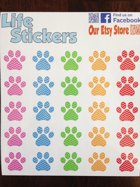 Chevron Paw Print Stickers.  Perfect for by LifeStickers on Etsy