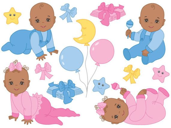 African American Baby Clipart Digital Vector Baby Girl Baby Boy