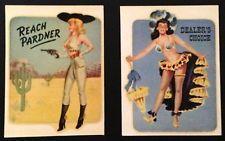 """Pair of Vintage Girlie Pinup unused Decals ~ """"Reach Pardner"""" & """"Dealer's Choice"""""""