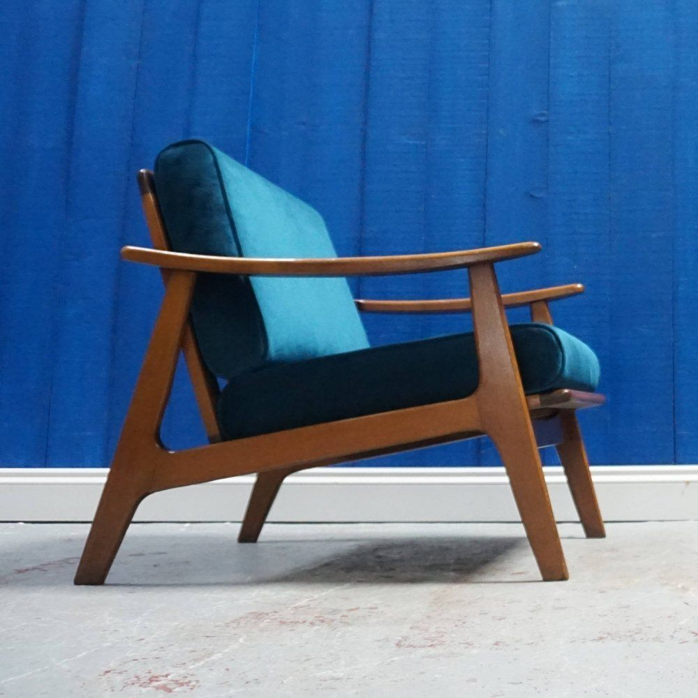 For sale mid century modern armchair in royal green