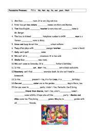 English worksheet: fill in exercise - possessive pronouns ...