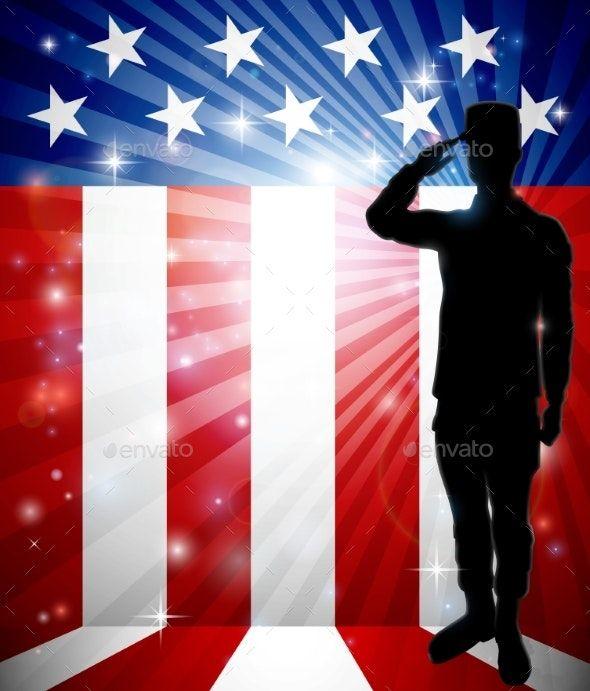Patriotic Soldier Saluting American Flag #americanflagart