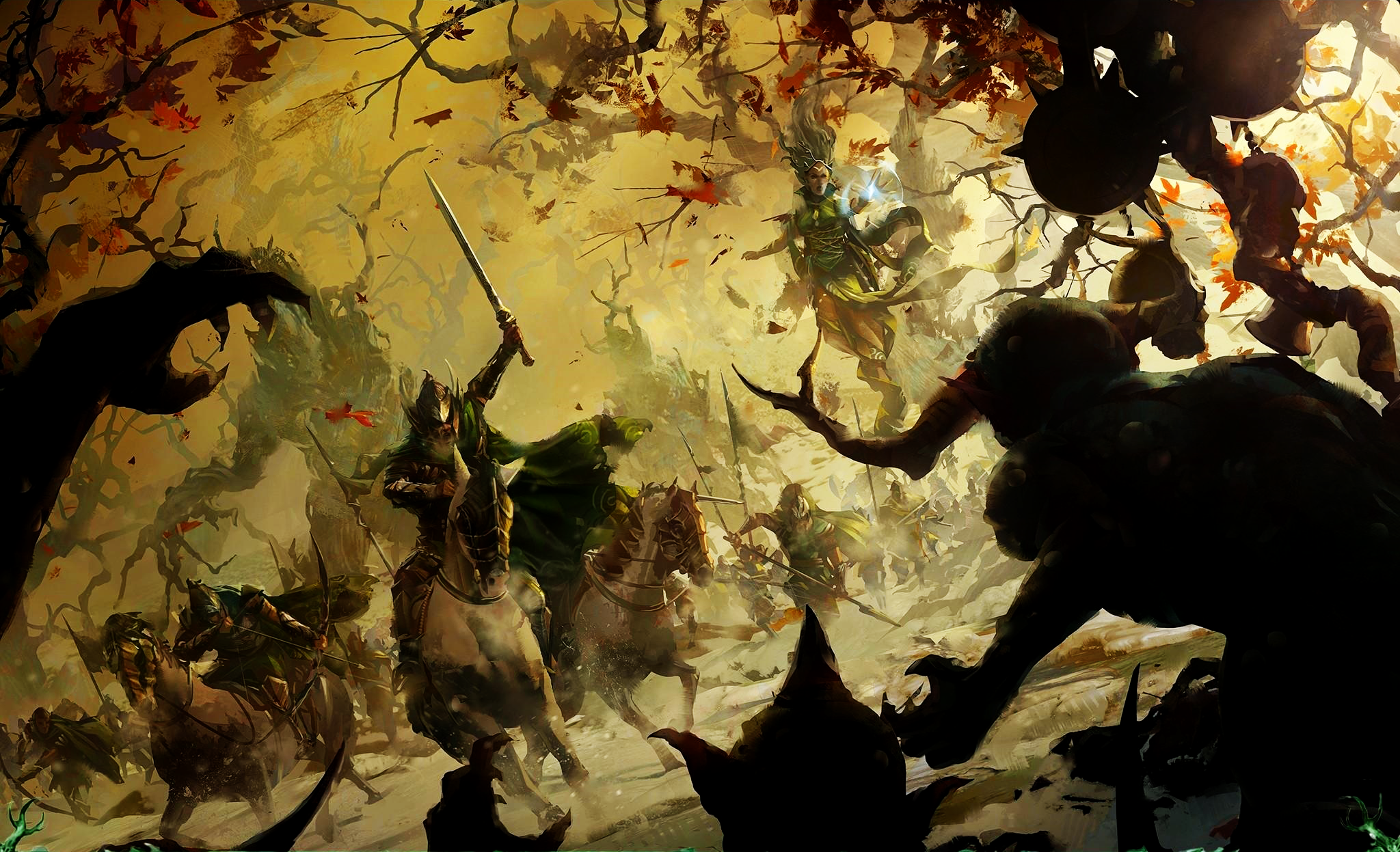 Just Wanted To Share This Awesome Wood Elves Wallpaper I Found Warhammer Art Warhammer Wood Elves Elf Art