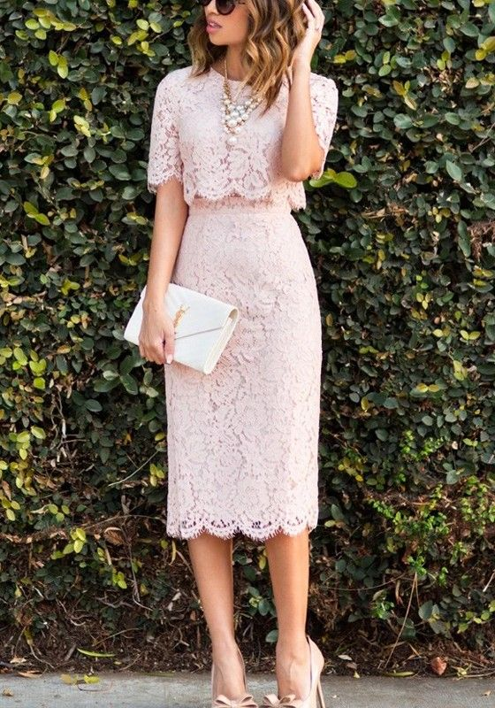 Pink Plain Lace 2 In 1 Round Neck Elbow Sleeve Maxi Dress