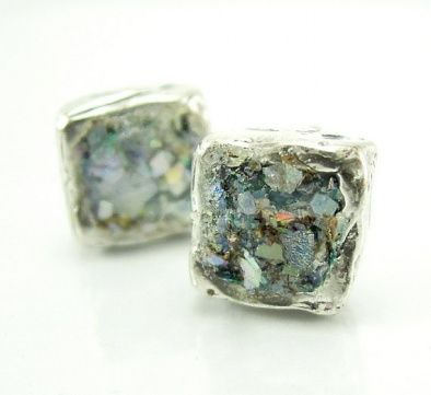 Roman Glass Earrings A stunning silver square Roman glass earrings. These elegant 5mm square genuine 2000 years old Roman Glass will send you back back into Roman times. Enjoy!