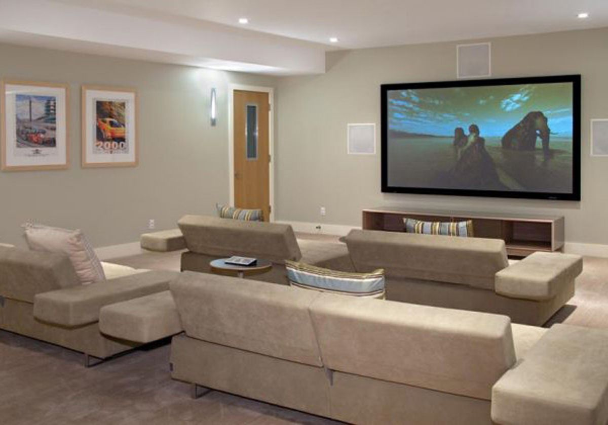 Basement Home Theatre Ideas Property 15 awesome basement home theater cinema room ideas | beige sofa