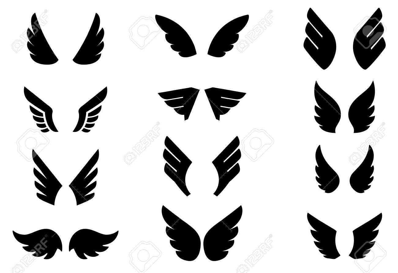 Set of eagle wing icons Design elements for label sign badge Vector illustration