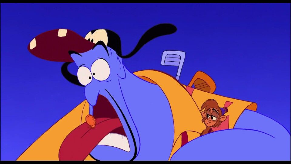 Image result for aladdin 1992 genie having a hairball