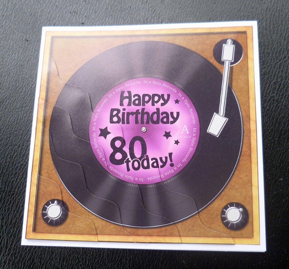 80th Record Player Birthday Card
