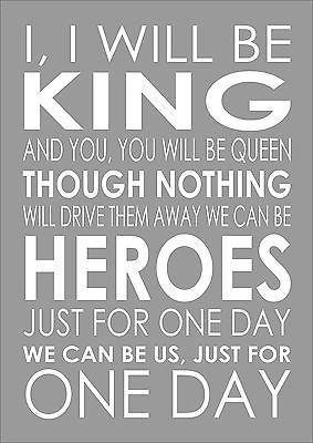 Heroes David Bowie Word Wall Typography Song Lyrics Verse Lyric Poster Print A4 Ebay David Bowie Lyrics David Bowie Quotes Heroes David Bowie Lyrics