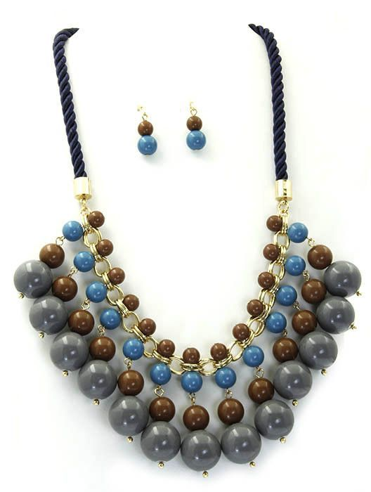 Necklace And Earring Set Lucite Bead Twisted Cord Fish Hook 18 Inch Long 2 Inch Drop