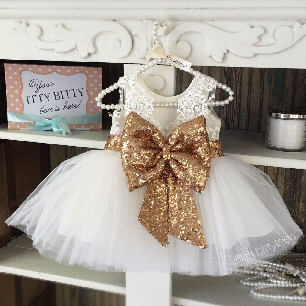 Lace dress for baby girl  Princess Aisha Dress White u Gold  Ivory white White lace and Bodice
