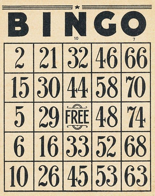 Vintage Bingo cards and 10 cent tickets-free printables