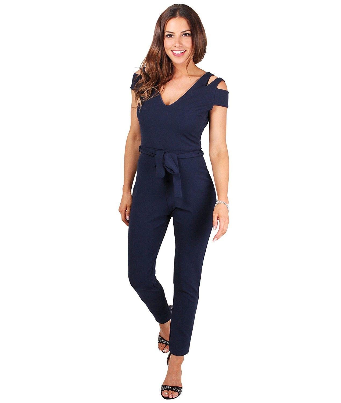 c8b28b976a27d5 Womens Fashion Cut Out Shoulder High Waist Jumpsuit Rompers Pants 4-14 Plus  Size - Navy - CZ182Z6NZG3 - Women's Clothing, Jumpsuits, Rompers & Overalls  ...