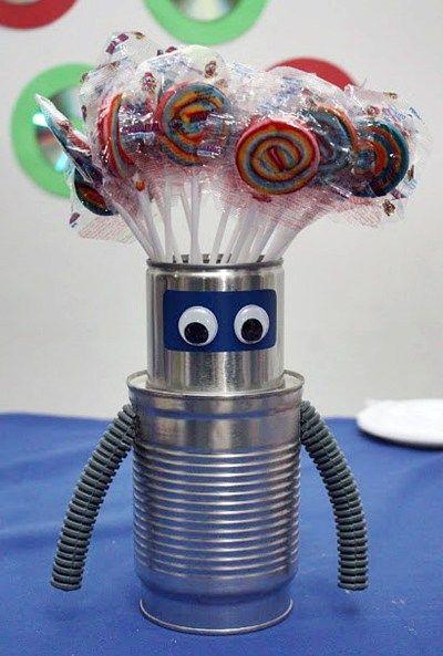Ideias para festa caseira Robô - Cds velhos, latas e laminados