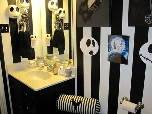 nightmare before christmas inspired room this is a guest bath how fun i may be crazy enough to try this in a kitchenmaybe a bit more subtly - Nightmare Before Christmas Bathroom Decor