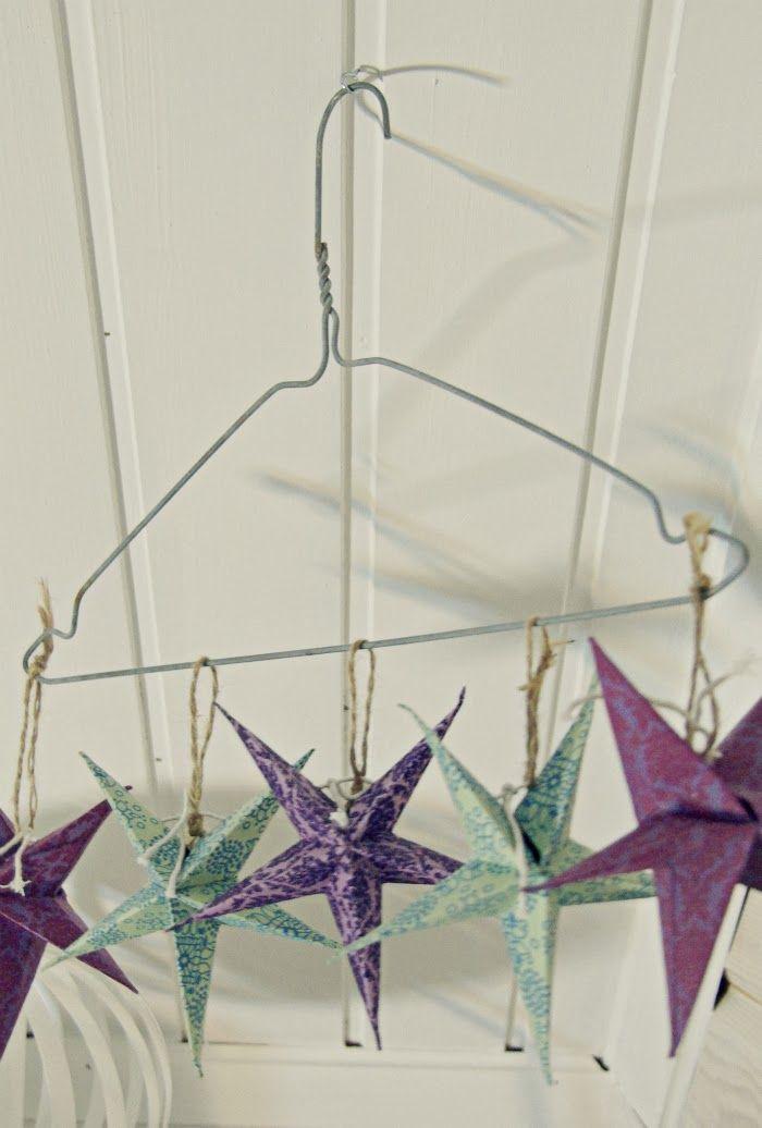 Tarja's Snowland Blog: DIY: Pesulahenkarista mobile / DIY Mobile from Laundry Hanger