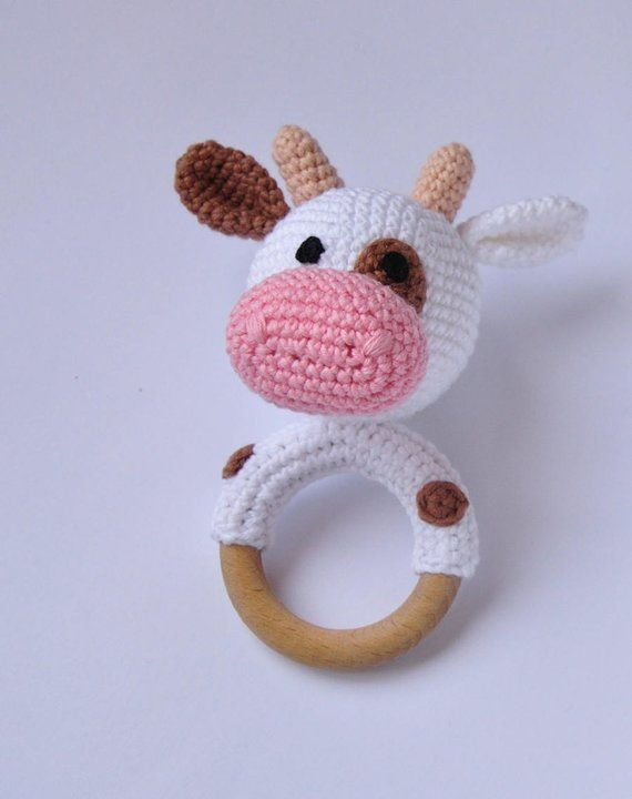 Cow baby rattle crochet amigurumi First newborn toy Expecting mom gift Farm themed baby shower Pregnant mom gift set New mum congratulations