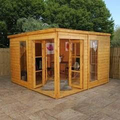 Mercia Wooden Summerhouse Garden Room 10x10ft Corner Summer House Summer House Garden Summer House
