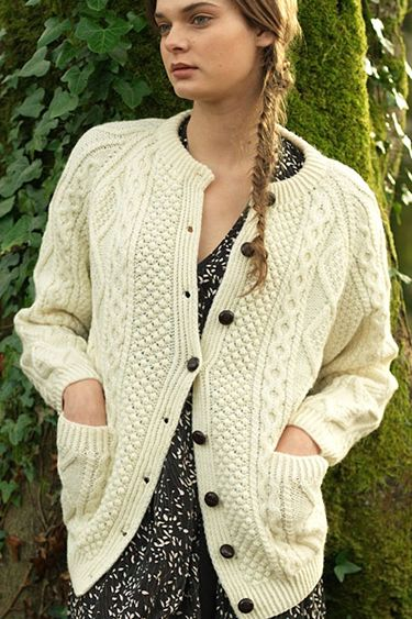59b2e9c88 Carraig Donn Irish Aran Wool Sweater Womens Cable Knit Traditional Buttoned Cardigan  Handknit