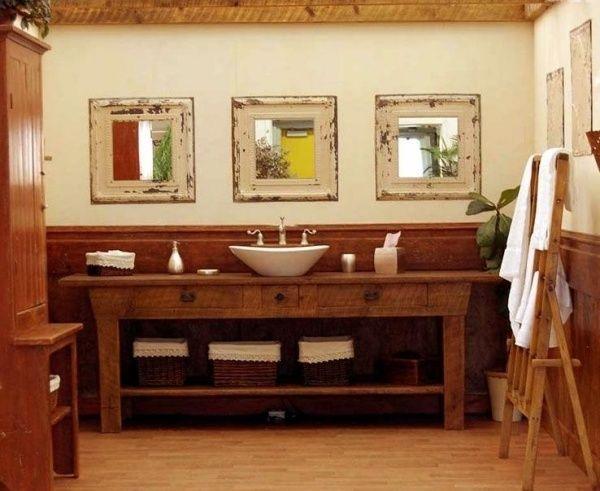 rustikales bad holz waschtisch spiegelrahmen schabby | badezimmer,