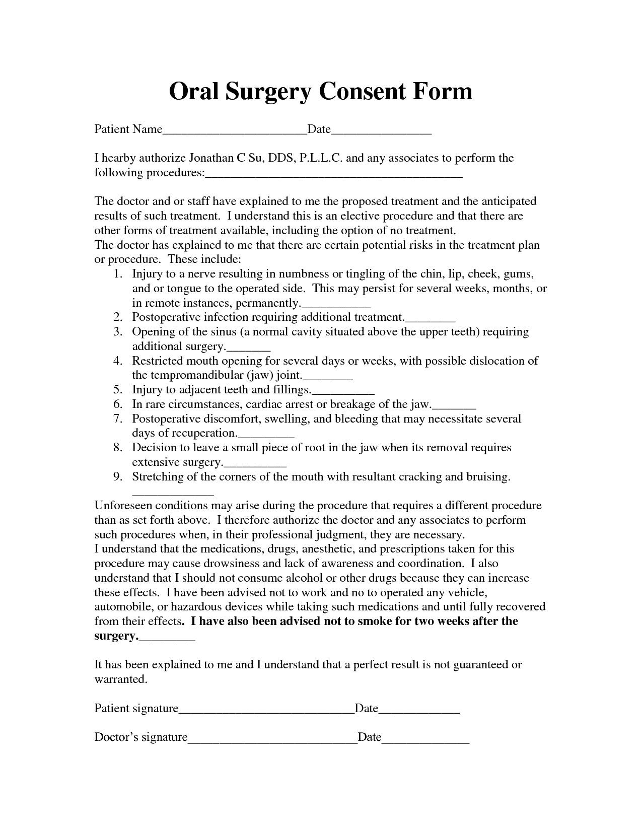 28 Surgical Consent Form Template In 2020 Consent Forms