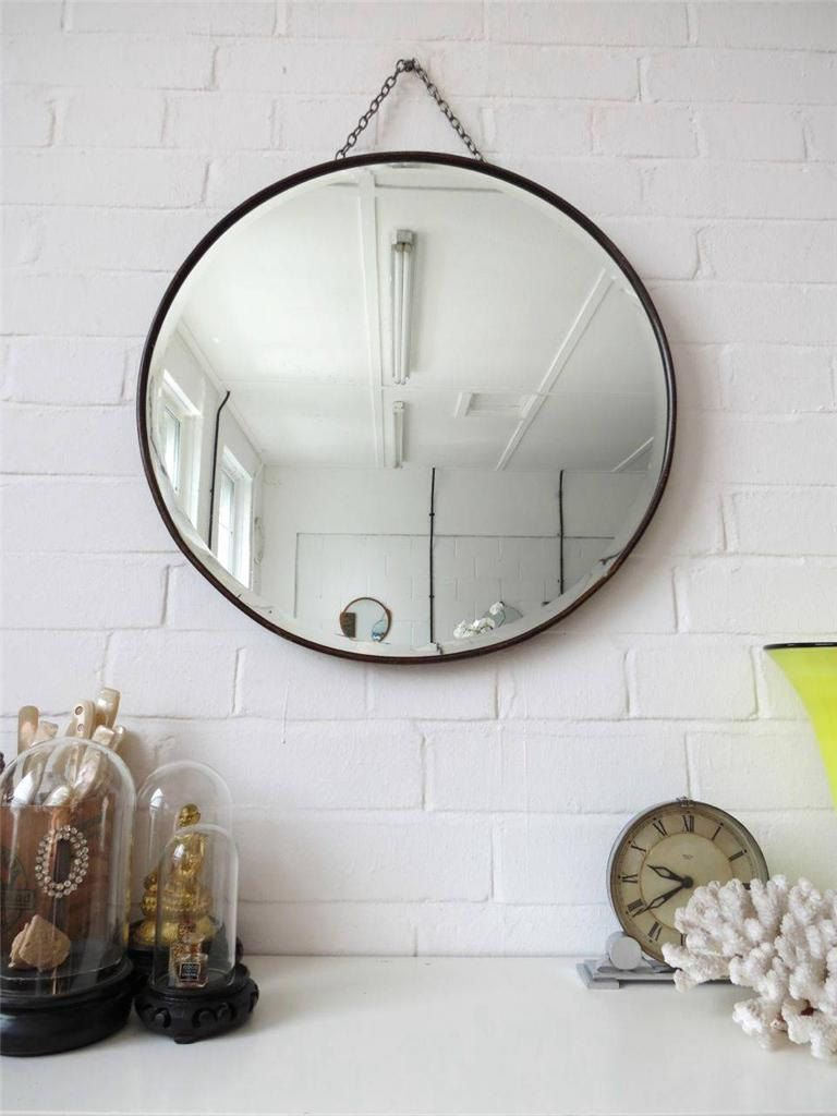 Vintage extra large round bevelled edge wall mirror by uulipolli