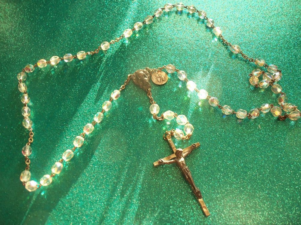 ST VALENTINE'S DAY! VINTAGE AB FACETED CRYSTAL ROSARY POPE JOHANNESS XXIII MEDAL