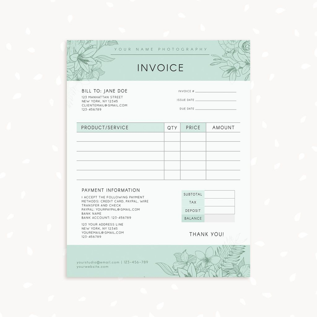 Floral Photography Invoice Template Photography Invoice Photography Invoice Template Invoice Template