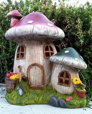 Cute Solar Power Outdoor Garden Decor MUSHROOM TOADSTOOL HOUSE
