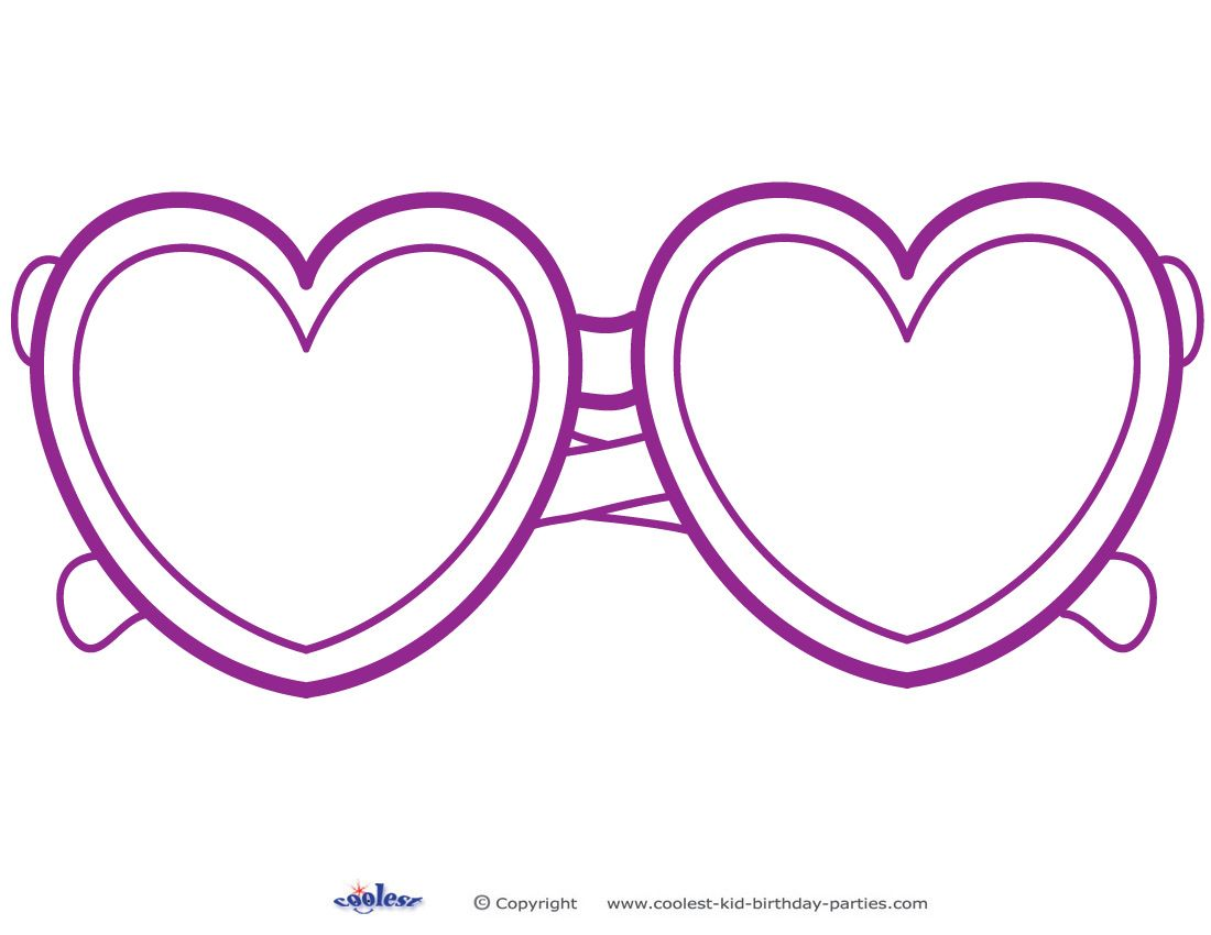 Printable Heart Shaped Glasses Decoration