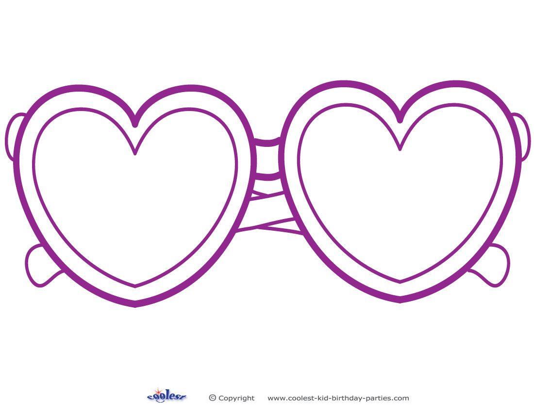 Printable Heart Shaped Glasses Decoration