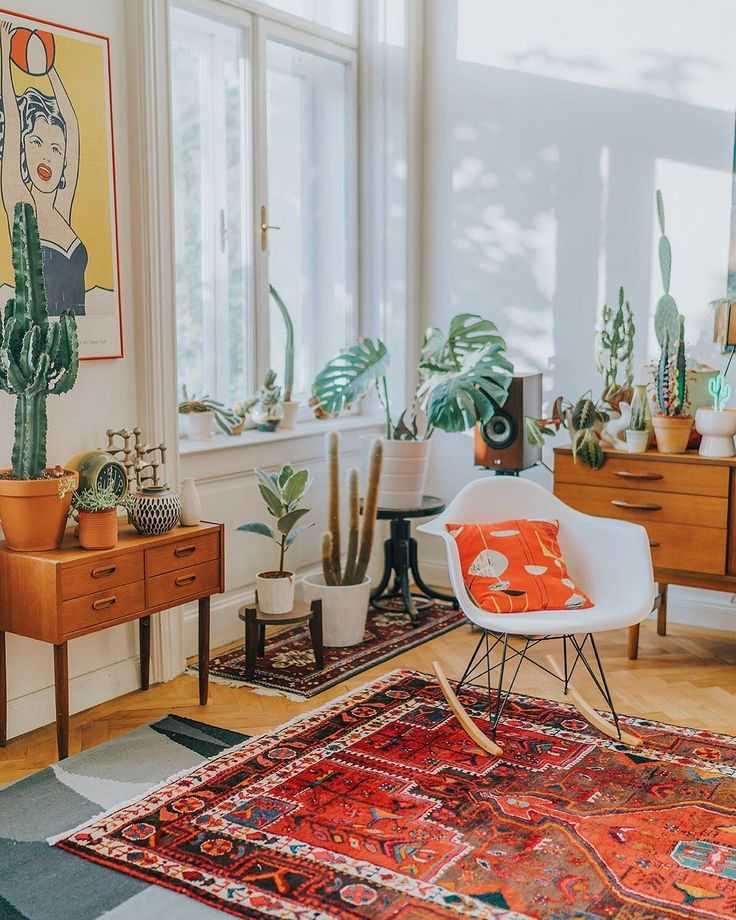 Bright Orange Living Room Accessories: Boho Living Space With Bright Pops Of Red And Orange